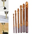 6Pcs Titanium Coated HSS Drill & Saw Bit Set Slot Cutting Carpenter Woodworking Wood Metal 3-8mm Tools Set hand tool set