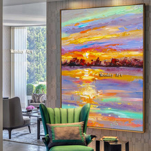 Hand Painted Modern Seascape Oil Painting Beach Sea sunrise painting Wall Pictures Hall Cafe Office Decor Living Room Home