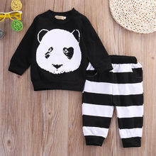 Cute Baby Panda Tops Newborn Baby Boys Girls Kid Long Sleeve Panda T-shirt Top Long Pants Leggings Outfit Baby Girls Clothes Set
