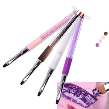 1pcs Professional Rhinestones Metal Design Nail Art Brush Pen For UV Gel Drawing Painting Carving Flat Brushes Manicure Tools