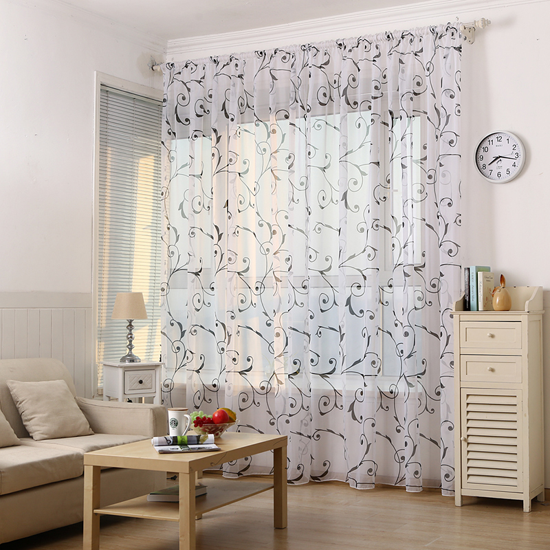 Modern 1PC Panel Window Curtains Flower Printed Sheer Voile for Bedroom Living Room Balcony Kitchen Tulle Curtain Decoration