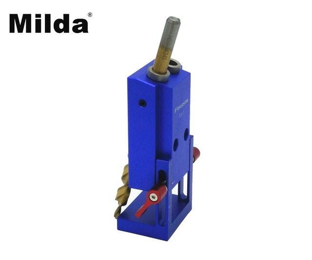 Milda Pocket Hole Jig Kit System Wood Working & Joinery Step Drill Bit & Accessories Mini Kreg Style WoodWork Tool drill locator