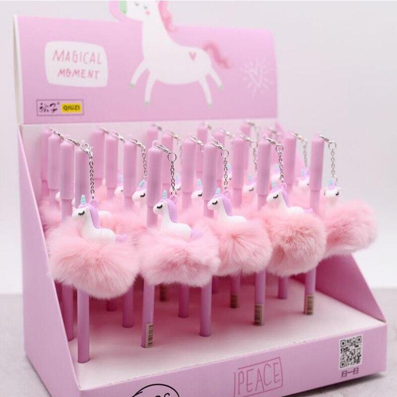 Kawaii Unicorn Ball Plush Pendant Gel Pen Cute 0.5 Mm Black Ink Neutral Pen Promotional Gift Stationery School Supplies