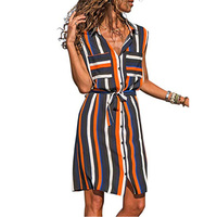 vintage Summer Dress Sleeveless Striped Loose Medium-length Turn-down Collar ladies vestidos