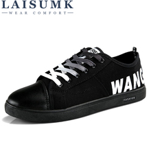 цена на LAISUMK Men Shoes New 2019 Spring Summer Canvas Men Casual Shoes Breathable Round Lace-Up Flats British Style Mens Shoes