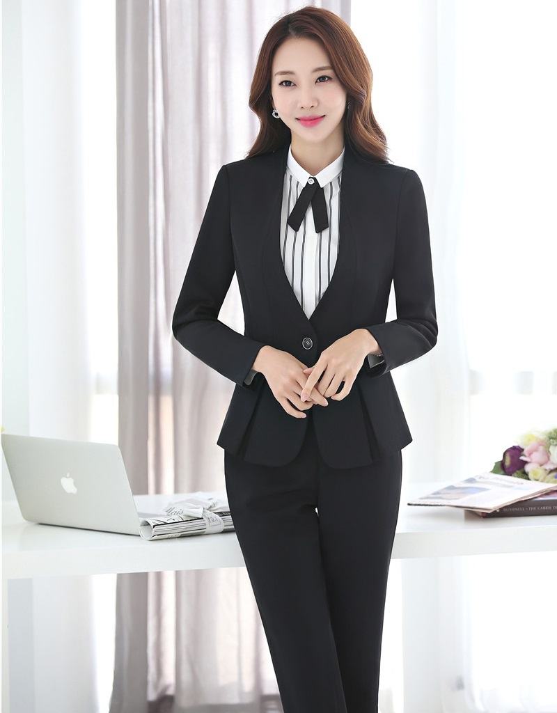 Pant Suits Back To Search Resultswomen's Clothing Formal Black Blazer Women Pant Suits Office Ladies Business Work Wear Set Navy Blue Office Uniforms Ol Styles