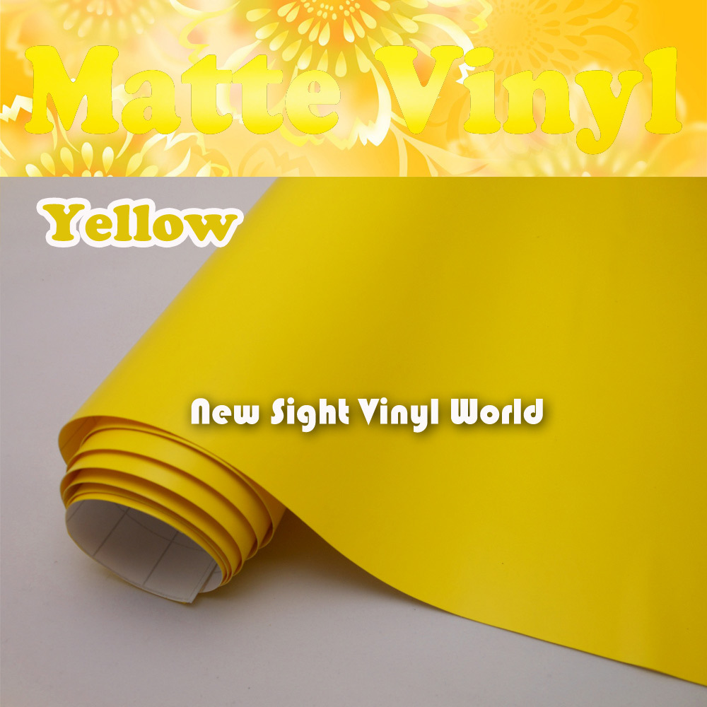 High Quality Yellow Matte Car Vinyl Wrap Matte Yellow Car Film Air Free For Car Decals
