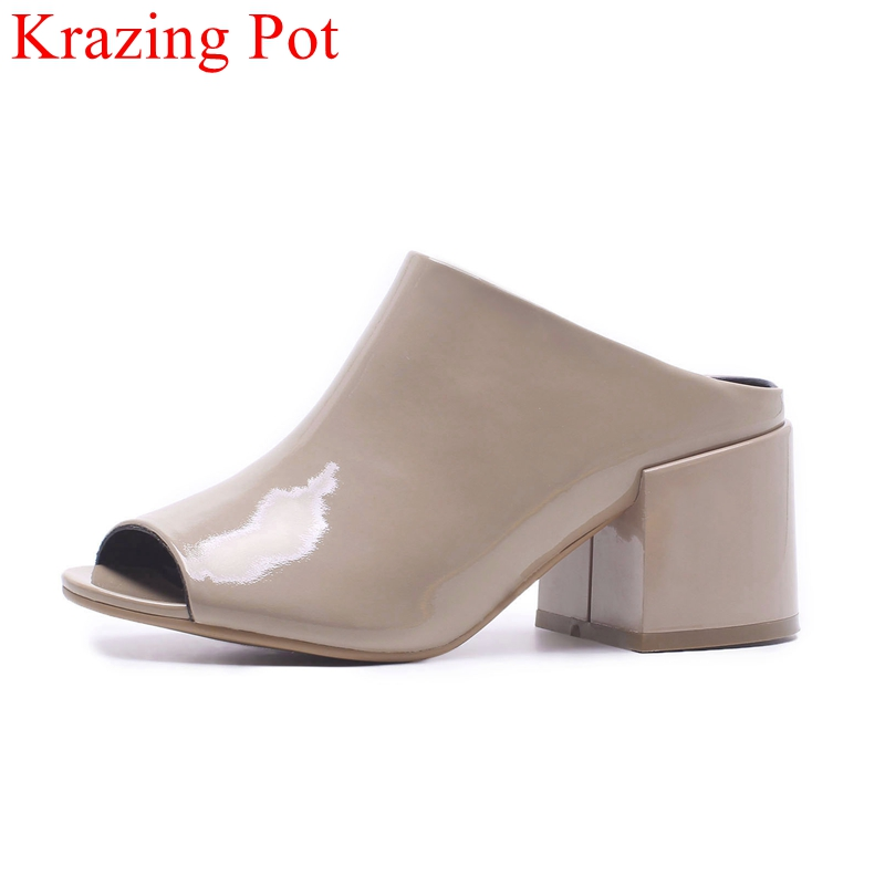 2018 superstar peep toe square heel women sandals handmade slip on slingback office lady mules casual elegant summer shoes L09 elegant slip on wedges shoes women casual chunky heel summer red blue peep toe suede 2018 high heels mules platform sandals