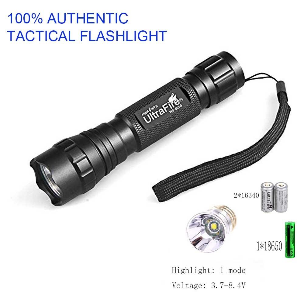 100% Modo de UltraFire Lanterna Tática XM-L T6 1 1200LM Lanterna LED Tocha lampe torche telescópica bastão de luz Luz do Flash (3.7V-8