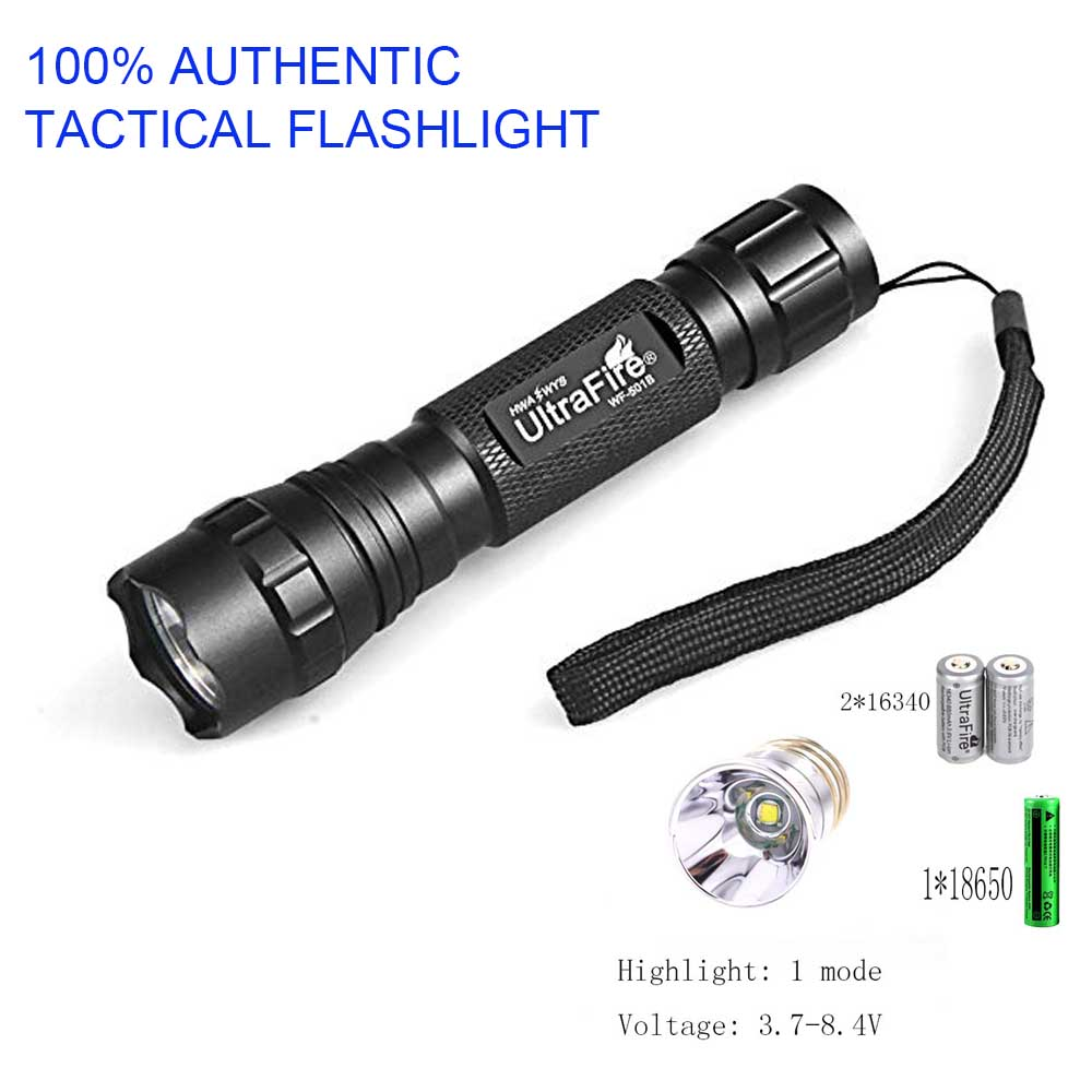100% UltraFire Tactical Flashlight XM-L T6 1 Mode 1200LM Lantern LED Torch lampe torche luz Flash Light telescopic baton (3.7V-8100% UltraFire Tactical Flashlight XM-L T6 1 Mode 1200LM Lantern LED Torch lampe torche luz Flash Light telescopic baton (3.7V-8