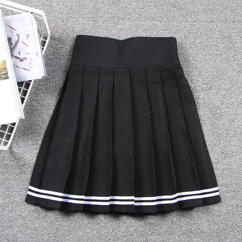 2019 New Spring Women Cosplay Pleated Skirt Zipper Elastic Band Girl School Uniform Skirt Solid High Waist Skirt Mini Skirts