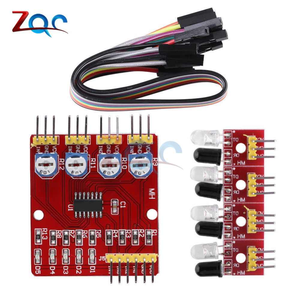 detail feedback questions about four way infrared tracing 4 channelfour way infrared tracing 4 channel tracking line sensor module transmission obstacle avoidance for arduino