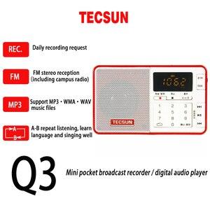 Image 3 - TECSUN Q3 Đài Phát Thanh Kích Thước Bỏ Túi Mini Đầu Ghi/Không Có 8GB 16G TF Card MP3 Nghe FM Stereo FM 76 108 MHz Miễn Phí Vận Chuyển