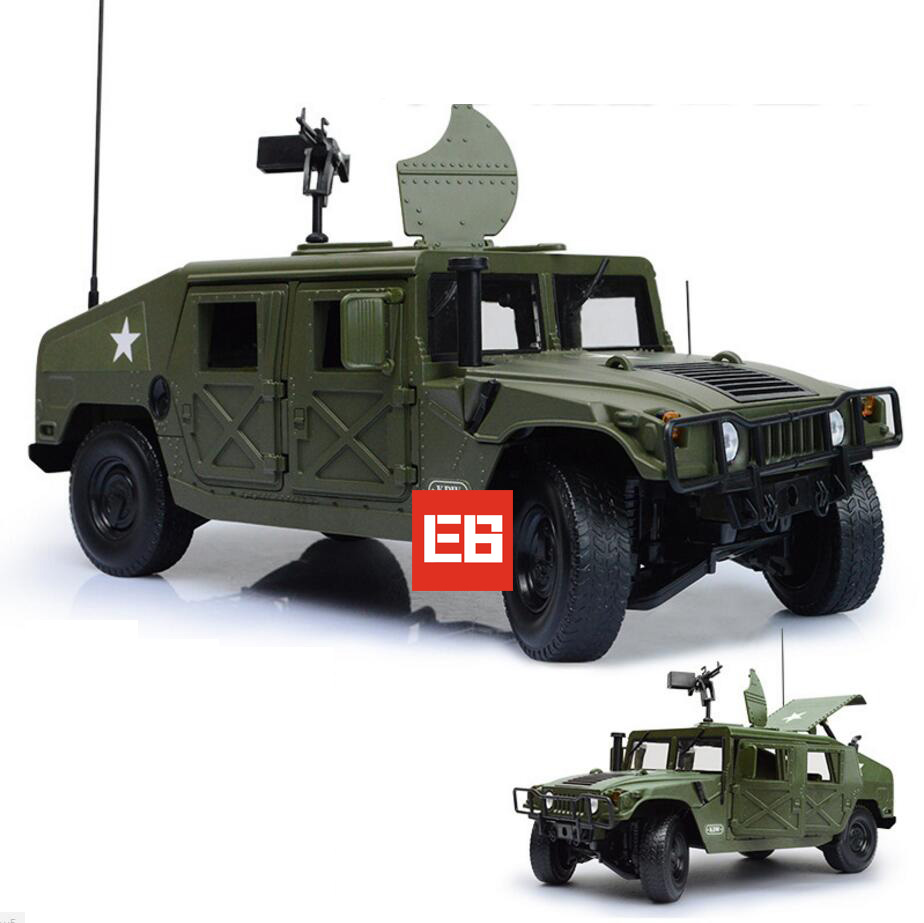 High Military wars simulation 1:18 Hummers Jeep diecast car open door alloy pull back toys with gun for kids gifts collection