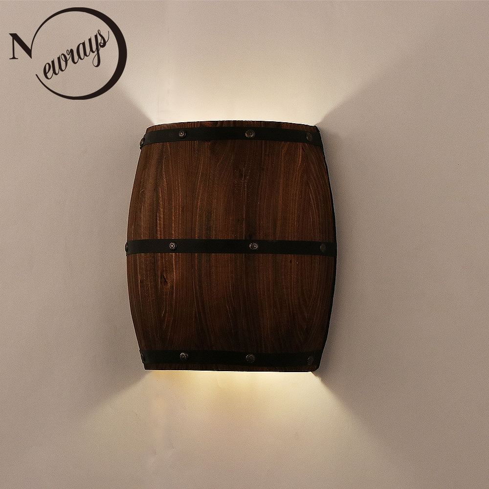 American vintage wall lamps country wine barrel modern wall lights LED E27 for bedroom living room