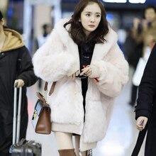 Женская осенне-зимняя коллекция, свободное модное пальто с капюшоном из искусственного меха