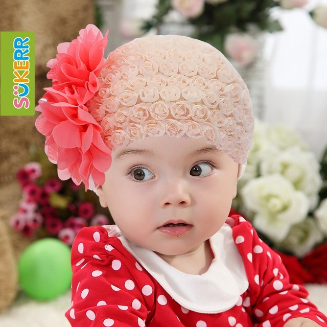 Sukerr baby headband baby hair bands lace big flower child princess hair accessory hairpin