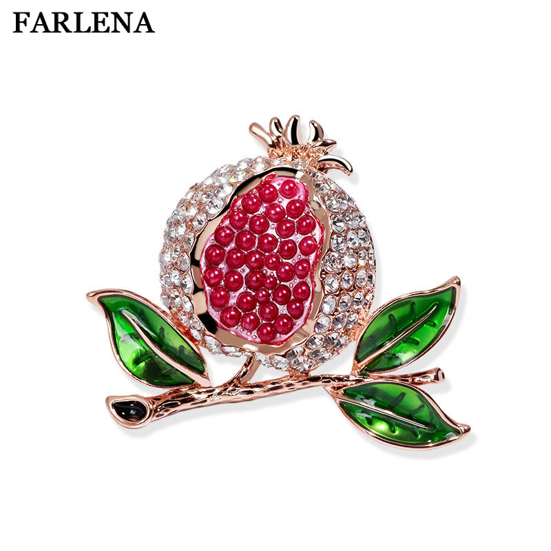 FARLENA Jewelry Cute painted red pomegranate brooch fashion rhinestones brooches pins for women wedding party dress