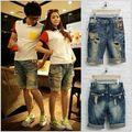 Новое поступление Летом Стиль Разорвал джинсовые шорты для Пары бордшорты Случайные Джинсы отверстие свободные шорты-бермуды пляжные шорты 030101