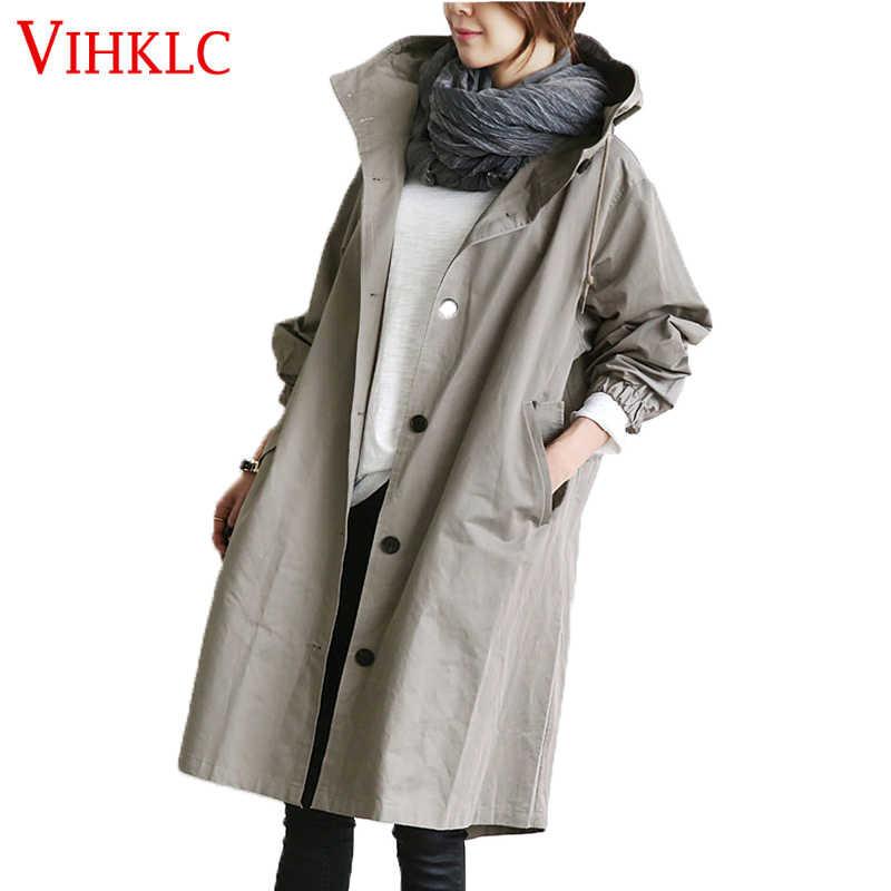 Осень в английском стиле ветровка Длинный плащ женский джинсовый кардиган одноцветное пальто с капюшоном для Для женщин больших размеров плащ Черный, серый цвет B904
