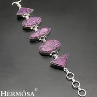 HERMOSA jewelry Real natural dalmatian jasper925 sterling silver beautiful fashion bracelets 8'' HF1357