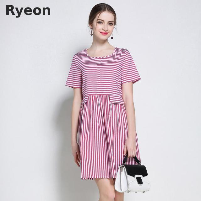 US $28.89 |Ryeon 5xl Plus Size Striped Cotton Dresses A line Short Knee  length O neck Casual Summer Women Dresses Linen Dress Vestidos-in Dresses  from ...