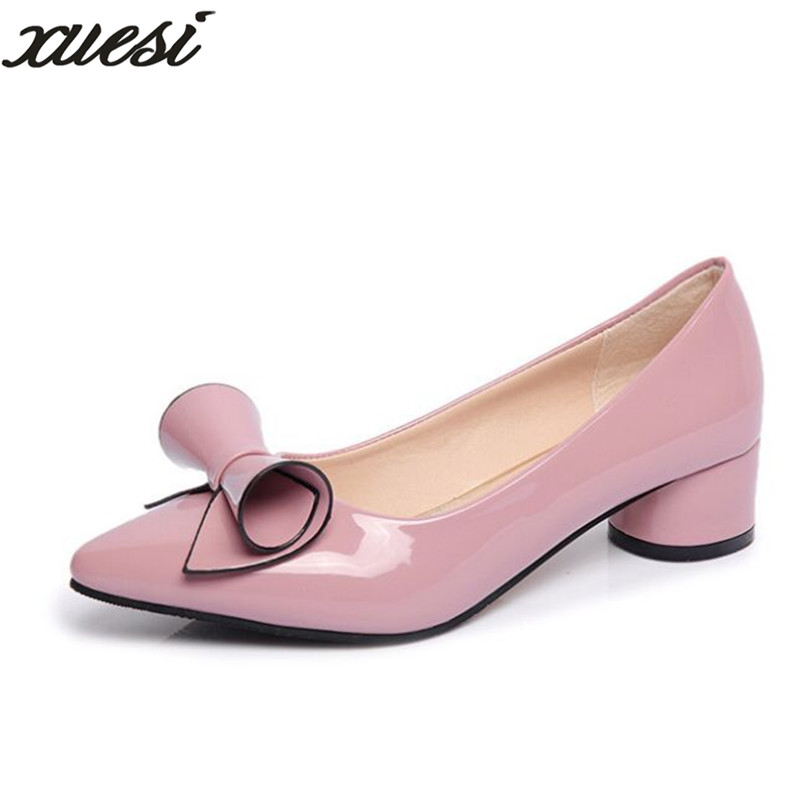 New Sweet Patent Leather Shallow Mouth Single Bow Shoes Pointed Red Shoes With High Heels Zapatillas Mujer Women High Heels 2017 the new european american fashion horn bow pointed mouth shallow comfortable flat sheet metal red shoes tide size 35 41