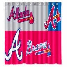 Vixm Home Custom Atlanta Braves Bath Curtains Waterproof Fabric Shower For Decors With C