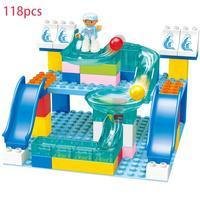 118 PCS Marble Race Run Maze Ball Track Crystal Building Blocks Big Size Funnel Slide Kids DIY Bricks For Children Gifts