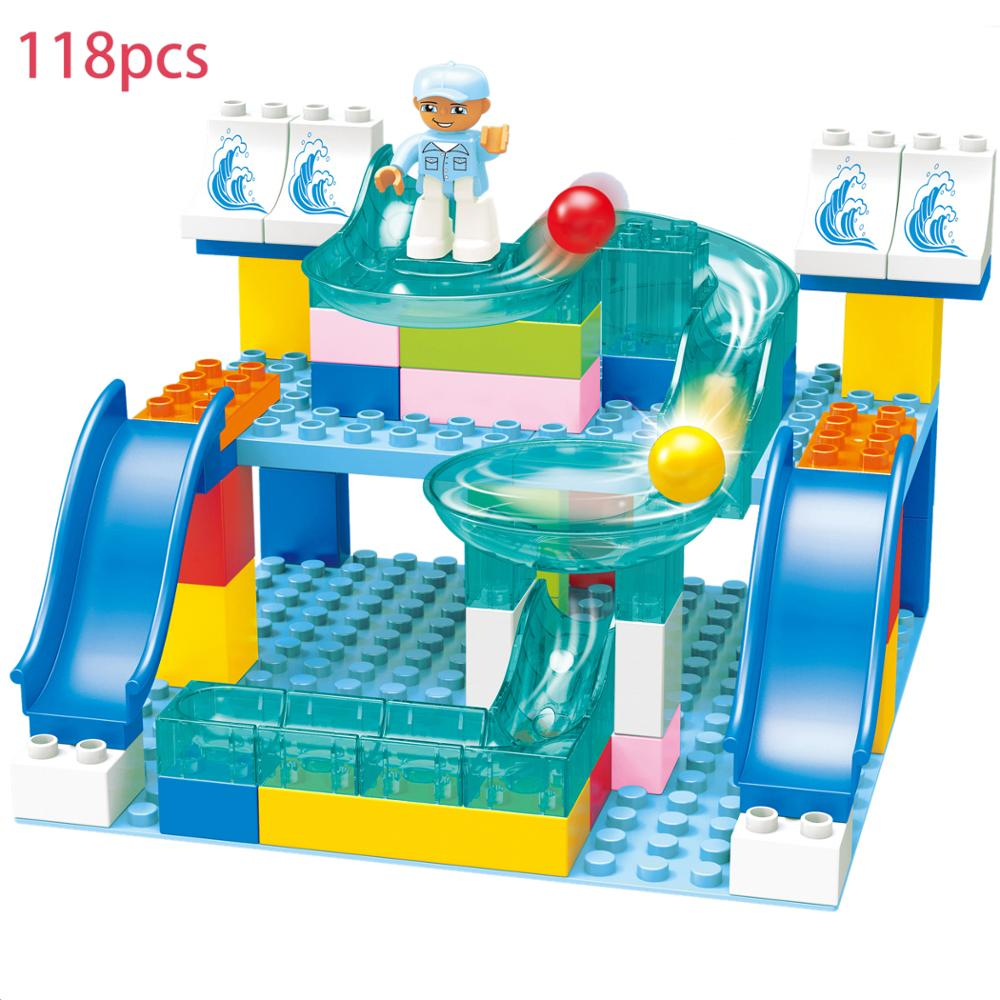 118 PCS Marble Race Run Maze Ball Track Crystal Building Blocks Big Size Funnel Slide Kids DIY Bricks For Children Gifts