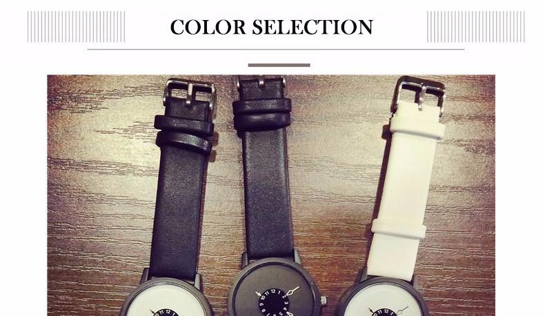 Hot fashion creative watches women men quartz-watch 17 BGG brand unique dial design lovers' watch leather wristwatches clock 4