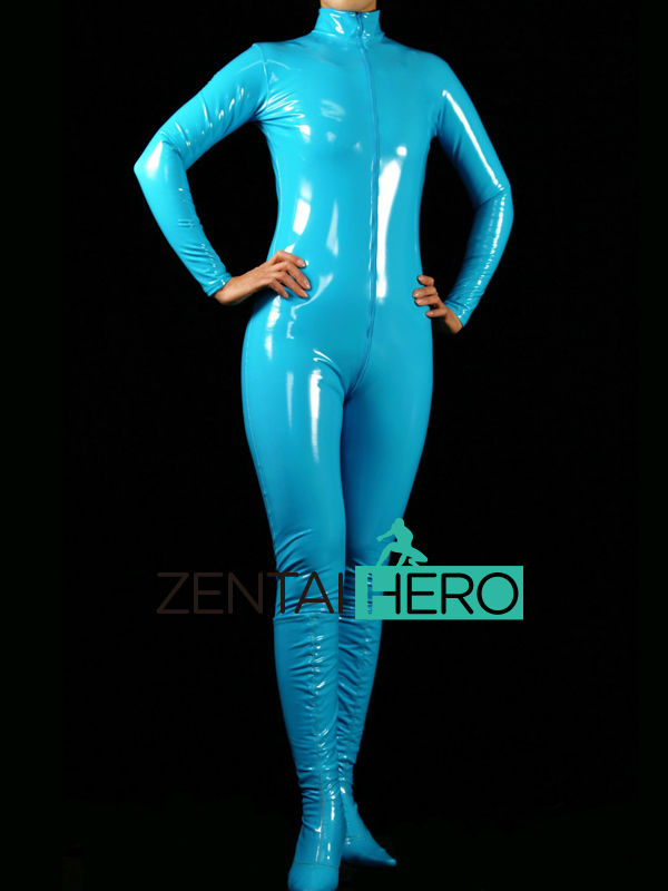Free Shipping DHL New Arrival Sexy Sky Blue PVC Zentai Catsuit Fancy Dress Zentai Suit For Halloween Party Front Zipper AXM40