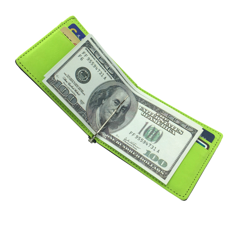 Wallet Slim Clamp Purse Money-Clip Credit-Card Gray Brown Men Bifold Green Men's Simple-Design