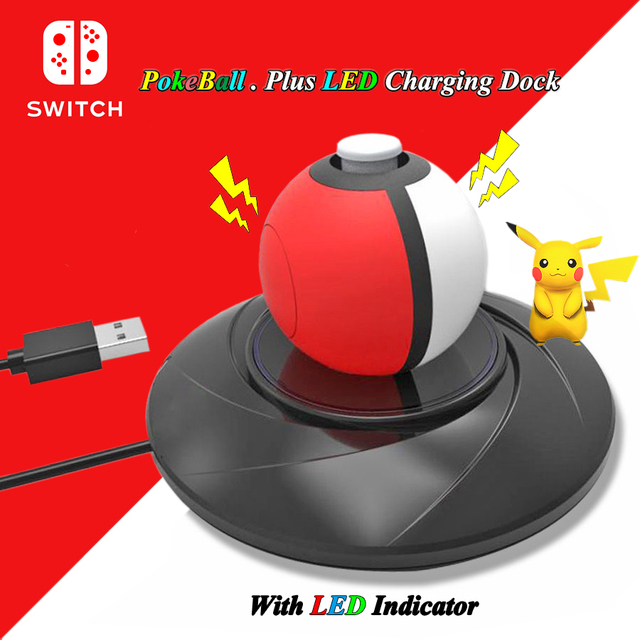 Nintend Switch NS Poke Ball Plus LED USB Charging Dock Station, Pokeball Plus Charger for Nintendo Switch Gaming