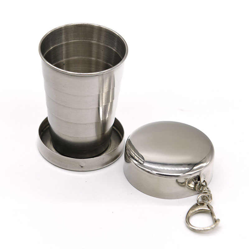 75/140/240ml Folding Cup Outdoor Travel Stainless Steel Portable Retractable Metal Wine Cup Mini Glass Telescopic Folded Mug Gif