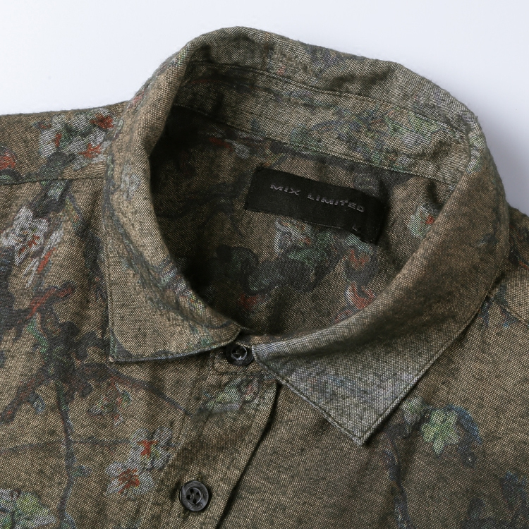 Image 5 - Men new winter Vintage shirt printed flower long sleeve shirt men  slim fashion cotton European style quality brand shirt S2333shirt men  slimsleeve shirt menbrand shirt men