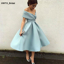 Eenvoudige Mint Blue Korte Bruidsmeisjekleding 2018 Sexy Off Shoulder Plooi Satin Wedding Partij Jassen Custom Made Gelegenheid Jurk(China)