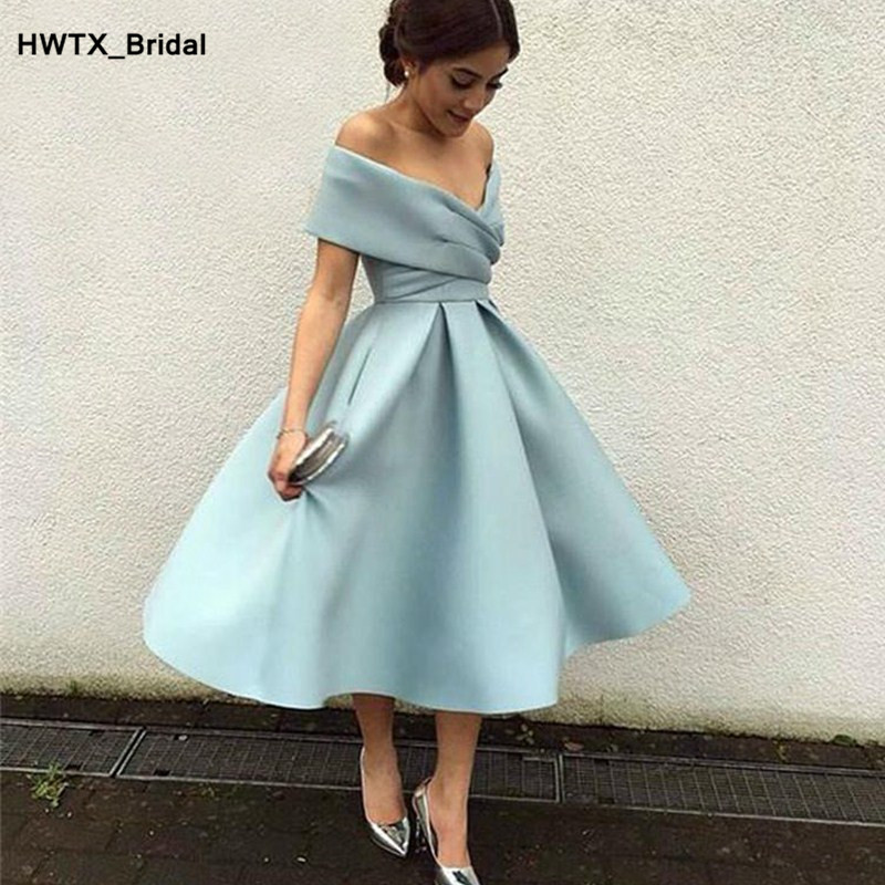 Simple Mint Blue Short   Bridesmaid     Dresses   2018 Sexy Off Shoulder Pleat Satin Wedding Party Gowns Custom Made Occasion   Dress