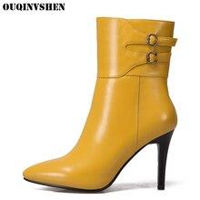 Ouqinvshen острый носок шпильки Для женщин Ботинки очень высокий каблук женские ботильоны Повседневное новые модные зимние сапоги с пряжкой Женские сапоги