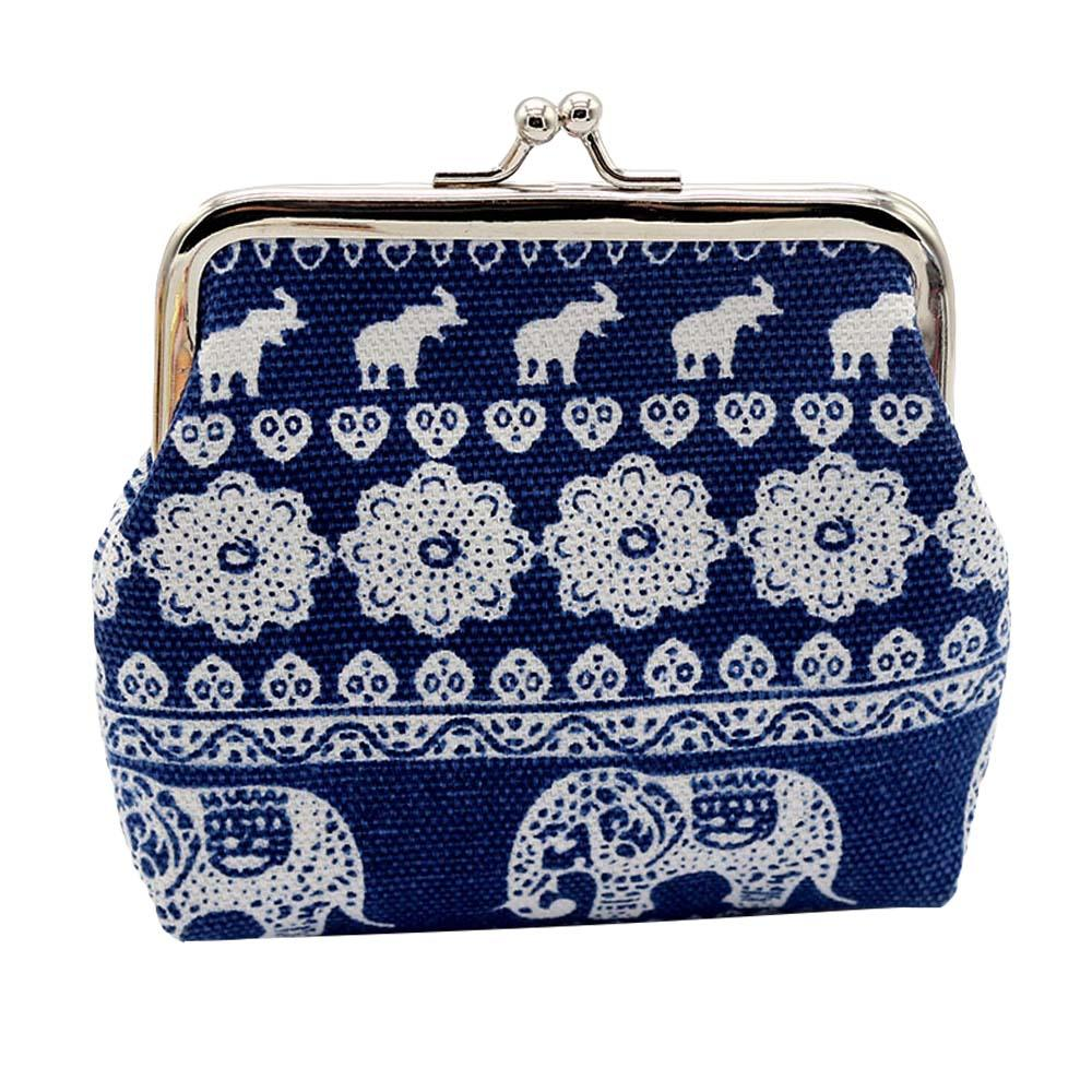 be90383fe852 US $1.93 43% OFF|Hot!!! Women 's Ethnic Elephant Floral Print Kiss Lock  Coin Purse Mini Wallet Clutch Bag-in Coin Purses from Luggage & Bags on ...