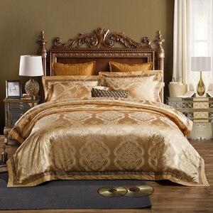Роскошный комплект постельного белья королевского размера, золотого и серебряного цвета, атласный жаккардовый комплект с пододеяльником, ...