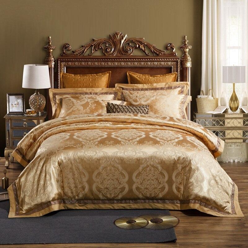 53be563e3b Jogo de cama de luxo King size Rainha de Ouro Prata cor propagação Da Cama  De Cetim Jacquard Cama set capa de Edredão cover set Fronha