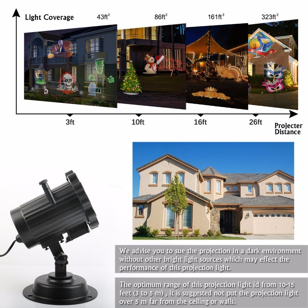 Kmashi Halloween Christmas LED Projector Light 16 Pattern Lens Replaceable Lawn Projection Lamp Night Light Landscape Wall Yard