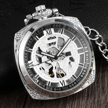 Retro Vintage kwadratowa tarcza stalowa mechaniczny zegarek kieszonkowy mężczyźni Hollow szkielet rzeźba Steampunk kieszonkowy zestaw zegarków kobiety mężczyźni prezenty