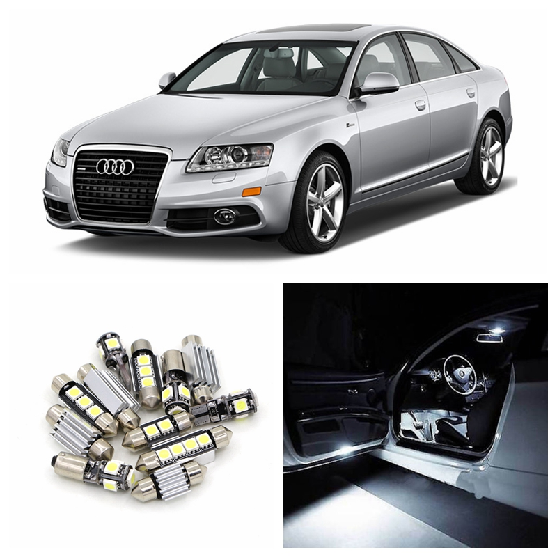 18pcs White Canbus Car Led Light Bulbs Interior Package Kit For 2005 2011 Audi A6 C6 Map Dome
