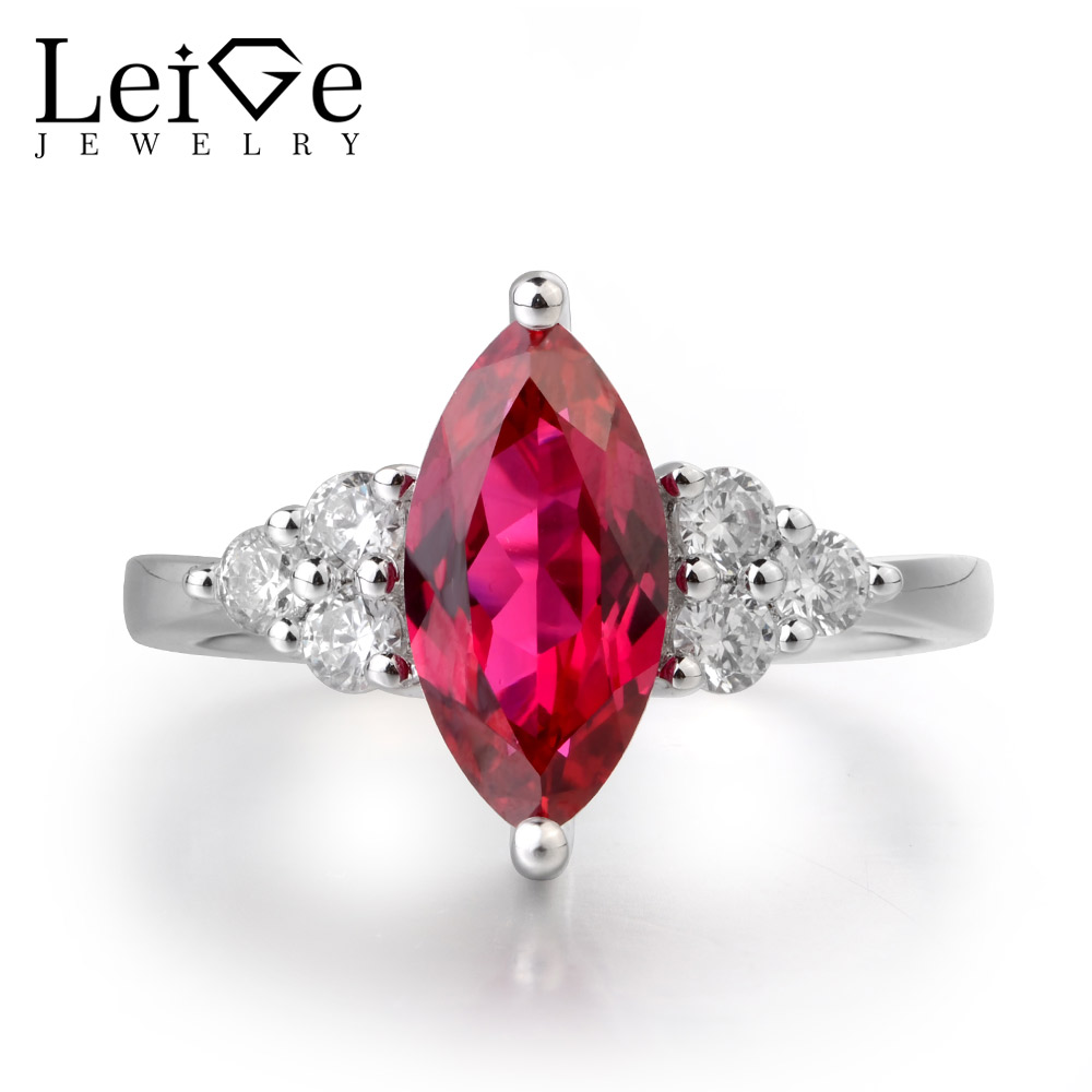 Leige Jewelry Natural Ruby Ring Engagement Wedding Ring Marquise Cut Gemstone Real 925 Sterling Silver Romantic Gifts for Girls