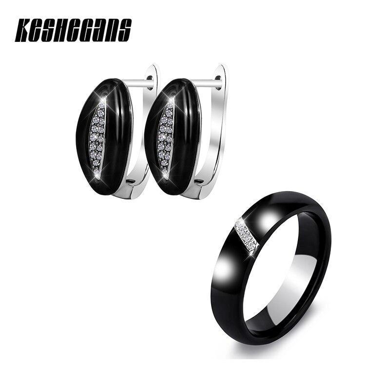 Fashion Earring Ring Set Classic Black White U Shape Stainless Cz Zircon Leaf Pattern Earring 6mm Wedding Ring For Women Jewelry