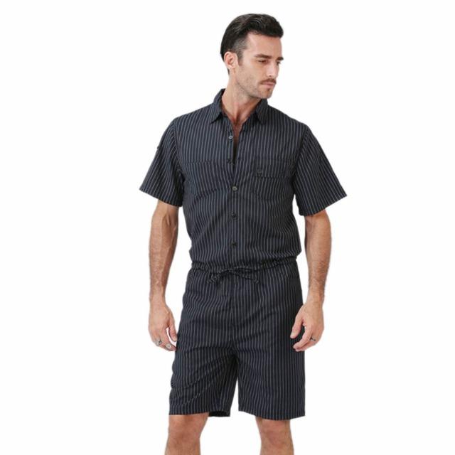 Big Yard 4XL Men Short Pants Jumpsuit 2018 Autumn New Men's Cotton Male One Piece Overalls Romper Slim Stripe Trouser Black Blue