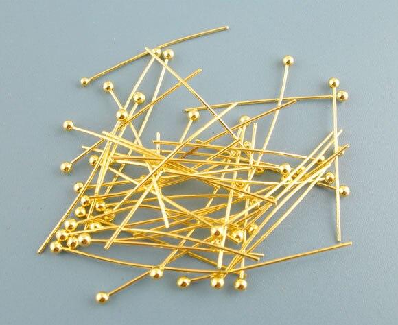 40 PCs Gold Color Ball Head Pins 0.5x25mm(24 Gauge) New