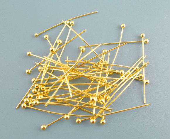 DoreenBeads Copper Ball Head Pins Gold Color Metal DIY Fashion Jewelry Findings Gifts 25mm(1